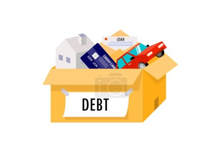 Illustration pour Liabilities arising from home, cars, credit cards are all in one box. - image libre de droit