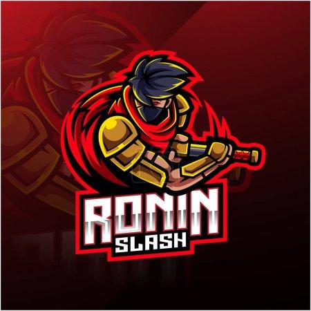 Conception du logo de la mascotte de sport Ronin