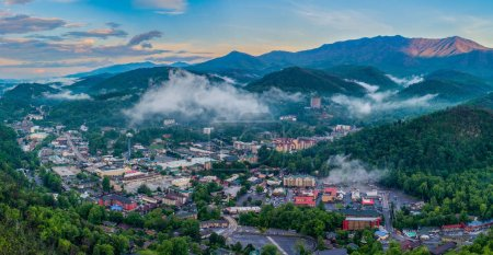Photo for Gatlinburg, Tennessee, USA Downtown Skyline Aerial. - Royalty Free Image