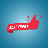 Red best choice label or sign with text and icon endorsing or praising a product or service