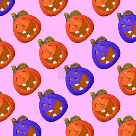 Fröhliches Muster von Kürbissen Jack Laterne in verschiedenen Farben auf rosa Hintergrund