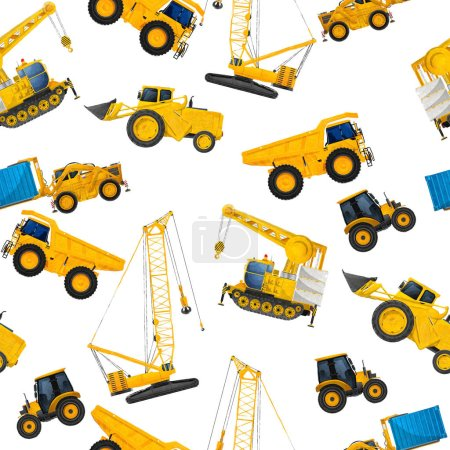 Photo pour Watercolor seamless pattern with industrial heavy machinery on white background - image libre de droit