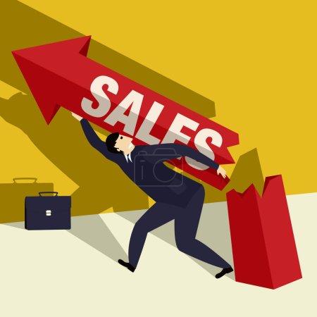 Illustration pour Illustration d'un homme d'affaires essayant désespérément d'augmenter les ventes, graphique conceptuel d'entreprise - image libre de droit
