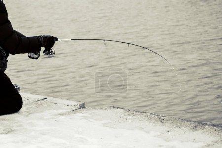 Trout fishing dark background...