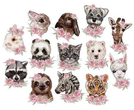 Photo for Set of cute animals on white background. t-shirt print design, stickers, hipster. nice animals: rabbits, cat, dog, panda, polar bear, giraffe, raccoon, sloth, llama, tiger, zebra - Royalty Free Image