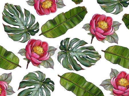 tropics leaves palms paradise flowers illustration pattern