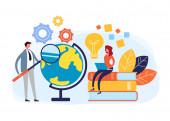 Global education web online courses tutorials concept Vector flat cartoon graphic design illustration