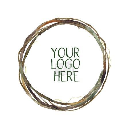 Photo pour Logo floral en cadre de branche - image libre de droit