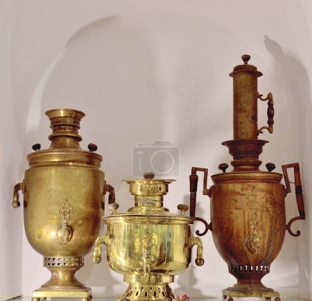 Photo for Samovar of different shapes and types from track - Royalty Free Image