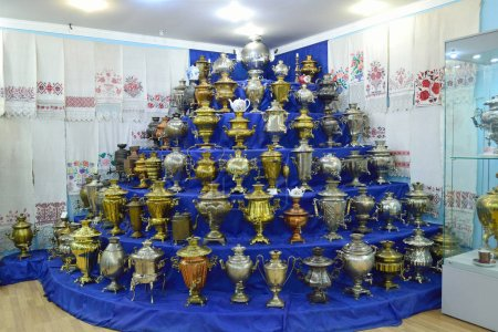Photo for Samovars stand in a semicircle in a museum - Royalty Free Image