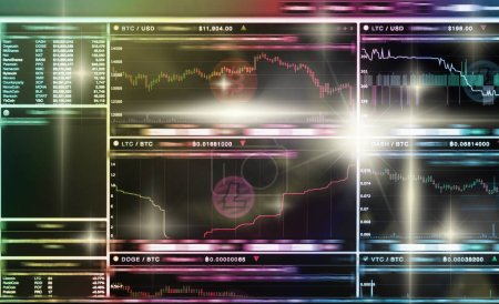 Photo for Cryptocurrency trading screen, Bitcoin exchange screen of trading information, Block chain technology of Crypto concept, Business and market trade concept - Royalty Free Image