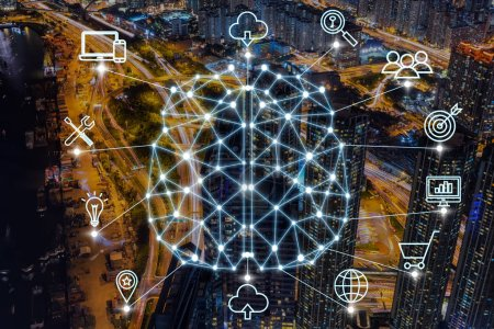 Polygonal brain shape of an artificial intelligence with various icon of smart city Internet of Things Technology over the express way with cityscape background, AI and business IOT concept