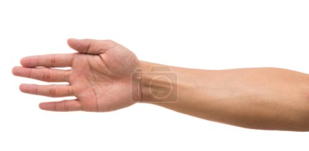 Photo for Hand showing the multi action over white background, include clipping path - Royalty Free Image