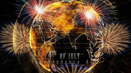 Independence day 4th july text over the Multicolor Firework Celebration over the Part of Abstract planet earth particle background