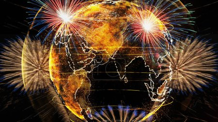 Multicolor Firework Celebration over the Part of Abstract planet earth particle background, Independence day concept