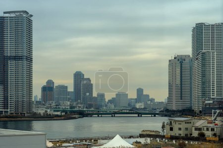Photo for Scene of Building cityscape with bridge in twilight time around Odaiba area, Tokyo, Japan - Royalty Free Image