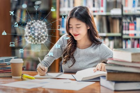 Photo for Polygonal brain shape of an artificial intelligence with various icon of smart city Internet of Things Technology over Asian young Student in casual suit reading the book in library of university - Royalty Free Image