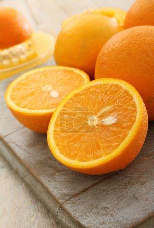 fresh juicy halved oranges