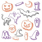 Set of 15 vector halloween elements Black orange purple sketches isolated on a white background