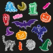 15 vector halloween elements Colored sketches with a white contour isolated on a black background Set for the design of holiday cards gift wrapping pattern on fabric print