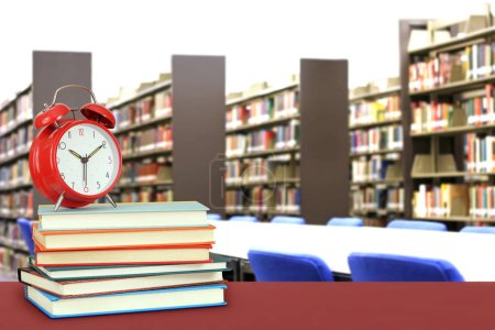 Photo for Education concept with book and library in the background - Royalty Free Image