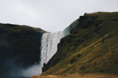 Beautiful scenery of amazing and breathtaking large waterfalls in the wild