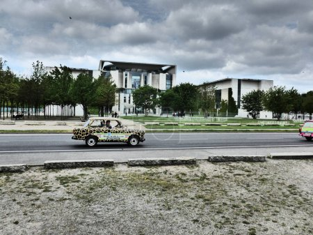 Trabi retro motor cars in front of German cancelle...