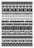 Set of 14 vector borders dividers and frames of Kazakh national Islamic ornament
