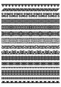 Set of 14 decorative seamless vector borders dividers and frames of Kazakh national Islamic ornament