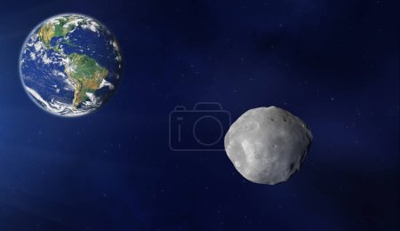 Planet Earth and asteroid in deep dark space. Elements of this image furnished by NASA