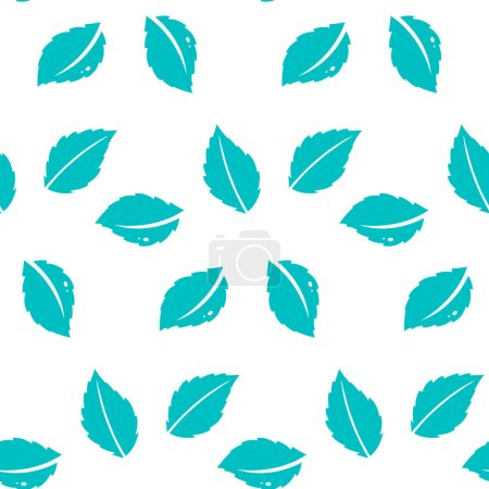 Illustration for Fresh mint leaves pattern.Seamless repeating pattern with abstract floral and leaf shapes in mint. Modern and stylish textile, gift wrap. - Royalty Free Image