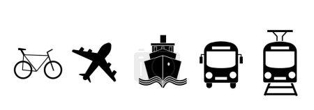 Verkehrsikonen. Flugzeug, öffentlicher Bus, Zug, Schiff / Fähre und Auto-Schilder.