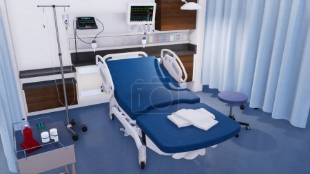 Photo for Empty hospital bed and various first aid medical equipment in emergency room interior of modern clinic. With no people 3D illustration on health care theme from my own 3D rendering file. - Royalty Free Image