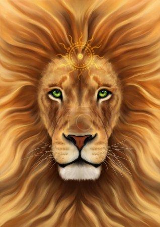 Photo pour Lion. Illustration imaginaire du lion. Dessin numérique du lion. Imprimer un t-shirt et une affiche. - image libre de droit