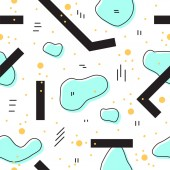 Unique abstract seamless repeating pattern Geometric and hand drawn elements Modern style Perfect for textile wrapping print web and all kinds of decorative projects Vector illustration