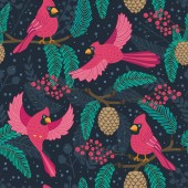 Whimsical repeating pattern Christmas and winter theme Red Cardinal birds pinecones berries and branches