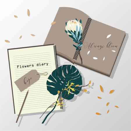 Photo for The flower diary ,Blank notebook with pencil and flowers on  paper white background - Royalty Free Image