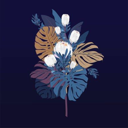 Photo pour Au nez avec des fleurs de protéa, des feuilles tropicales et des éléments floraux sur fond marin. Dessiné à la main avec jardin d'été et fleurs sauvages. cadre design avec éléments botaniques vectoriels . - image libre de droit