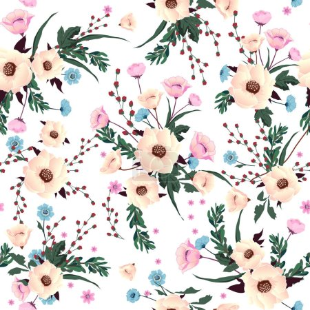 Photo pour Motif sans couture souffler fleurs floraison, isolé sur la couleur blanche. Texture botanique de décoration florale. Design de style vintage pour impression de tissu, fond d'écran . - image libre de droit