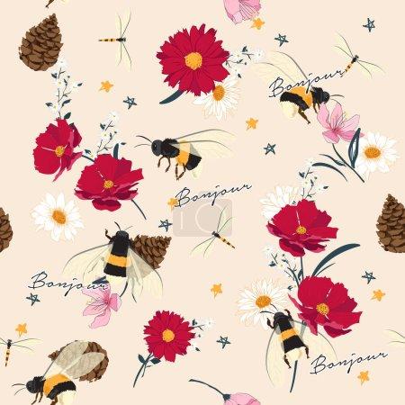 Photo pour Fleurs sauvages sans couture et illustrations d'insectes. Styliste dessin à la main avec motif de salutation français sur fond rose . - image libre de droit