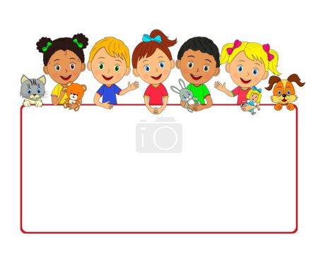 Illustration pour Enfants, garçons et filles avec jouets et cadre, illustration, vecteur - image libre de droit