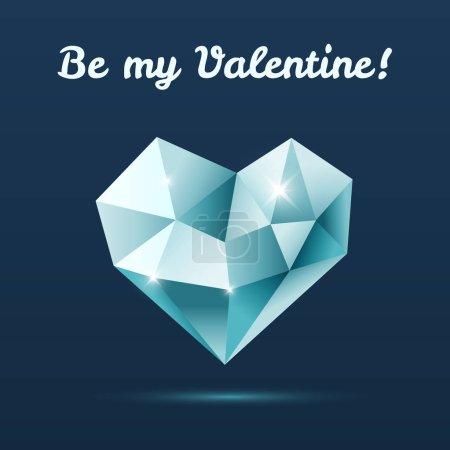 coeur en cristal bleu avec reflets