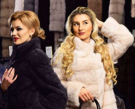 Photo pour Women in fur coats with bags in fur shop. Girls with mysterious faces in black and white fur coats hold purse in hands. - image libre de droit