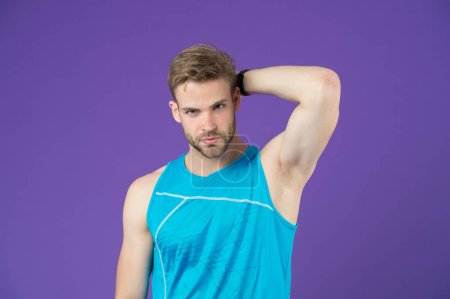 Workout is over. Man in sporty outfit finished daily training. How to avoid the biggest workout mistakes. Secret of effective daily workouts. Guy confident face just finished exercise