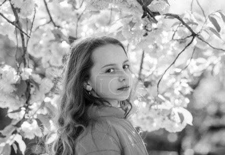 Photo pour Fille aux cheveux longs en plein air, fleur de cerisier sur fond. Concept de tendresse. Enfant mignon profiter de la nature le jour du printemps. Fille sur le visage rêveur debout devant des fleurs de sakura, déconcentré . - image libre de droit