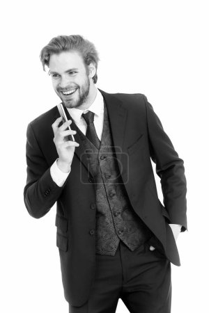 Photo for Man or businessman in formal outfit with smiling face talk on mobile phone - Royalty Free Image