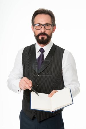 Man formal clothes hold notepad white explain business topic. Business school concept. Speaker business conference isolated white. Expert eyeglasses smart teacher. Join elite business academy event