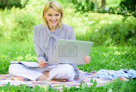 Photo for Woman with laptop sit on rug grass meadow. Online freelance career concept. Guide starting freelance career. Pleasant occupation. Business lady freelance work outdoors. Become successful freelancer. - Royalty Free Image