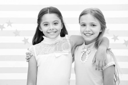 Photo for Friendship and best friends. little girls are best friends. friendship of little girls. bright moment together - Royalty Free Image