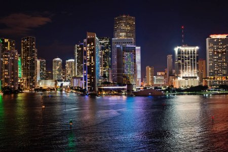 Photo for Miami, Florida, USA skyline on Biscayne Bay. Luxuru life concept. glowing view of Miami downtown - Royalty Free Image